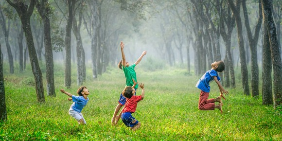 children jumping in a meadow with trees