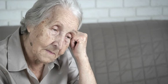 Old woman thinking